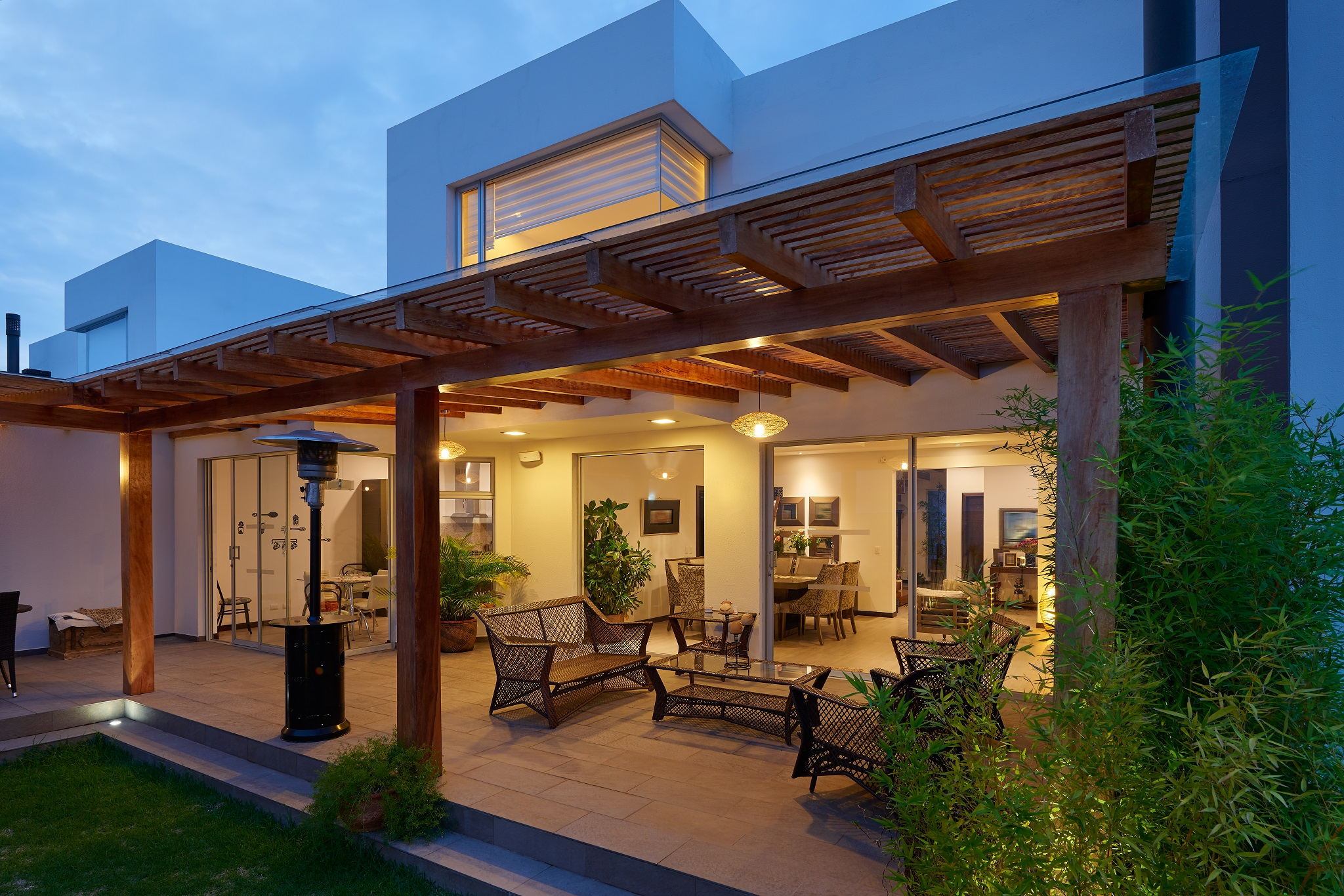 BackYard-Wood-Pergola-with-Electrical-and-Stone-wood-tile-deck